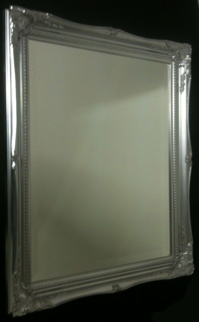 New Bright Silver Shabby Chic French Ornate Antique Mirror